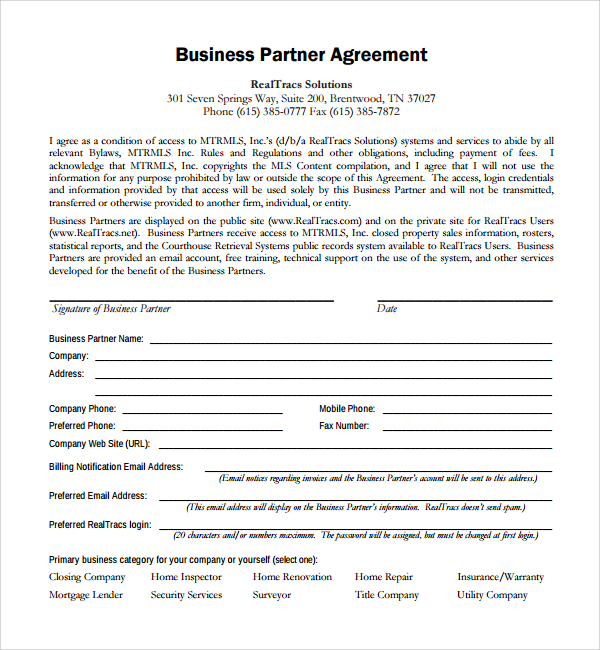 Business Partnership Agreement  Template Business