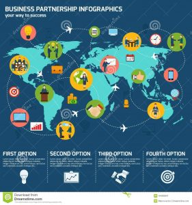 business partnership agreement template business partnership infographics meeting infographic set charts world map vector illustration