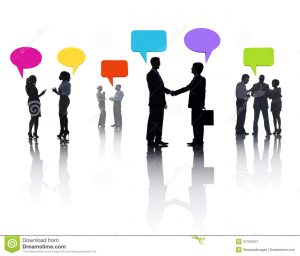business partnership contract group diverse business people sharing ideas colorful speech bubble
