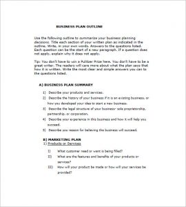 Business Plan Outline Template Business - Business plan templates pdf