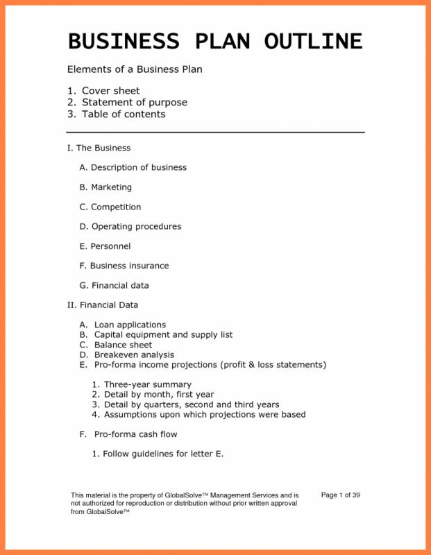 Business Plan Outline  Template Business