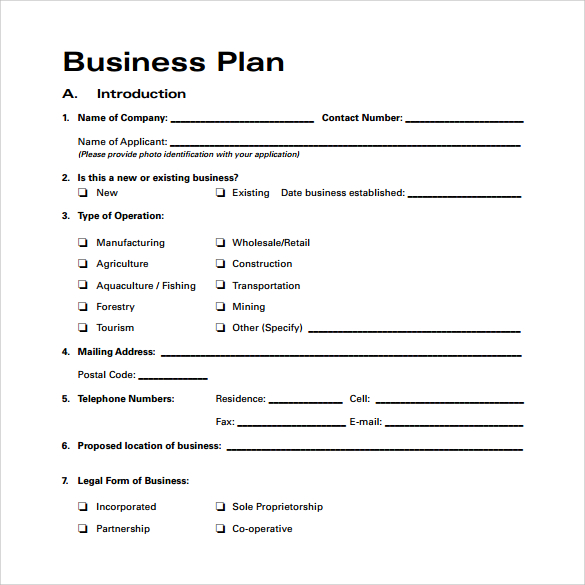 Business Plan Sample Pdf Template Business - Sample business plan template free