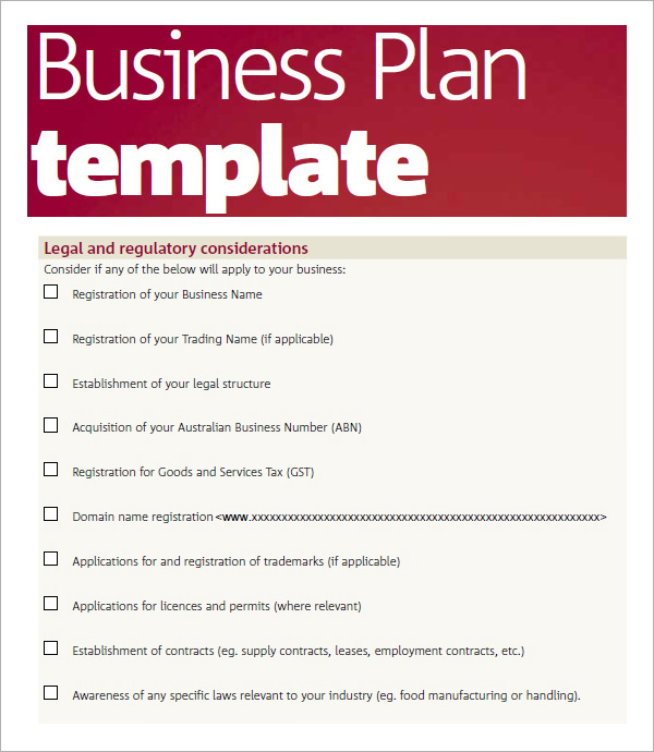 Business Plan Sample Pdf Template Business - Australian business plan template