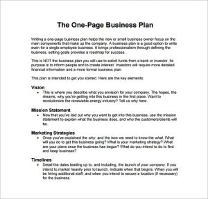 business plan sample pdf one page business plan example pdf template free download