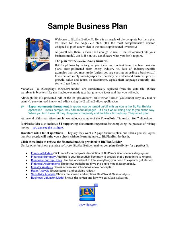 Business Plan Sample Pdf Template Business - Example business plan template