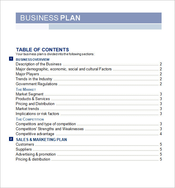 Sample Business Plan Template Template Microsoft Excel Business
