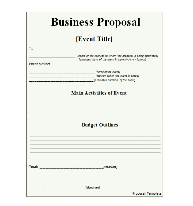 Business Proposal Template Template Business