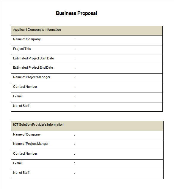 Business Proposal Template Word  Construction Proposal Template Word