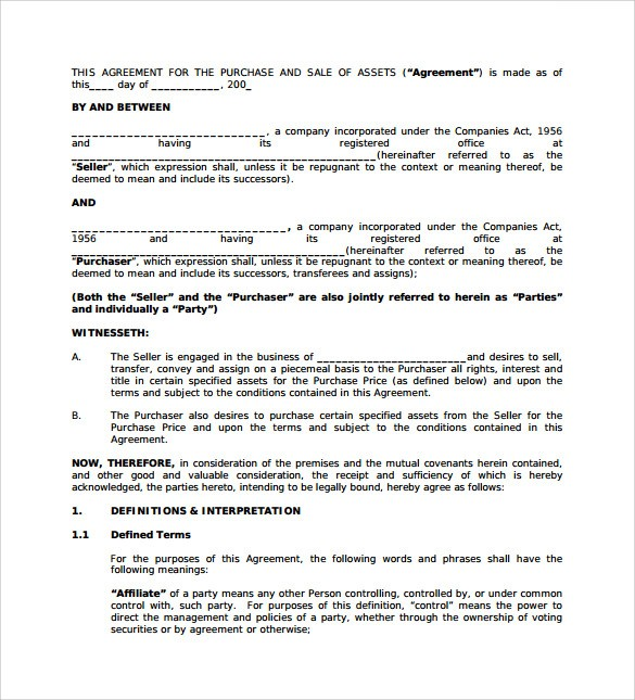 business purchase agreement pdf