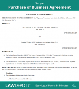 business purchase agreement template sample purchase of business agreement