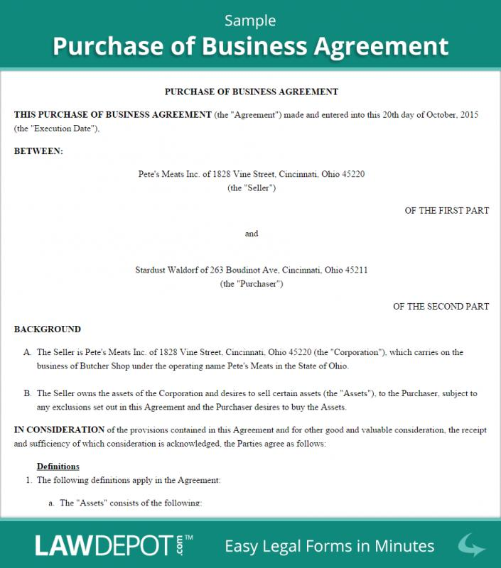 Business Purchase Agreement Template  Template Business