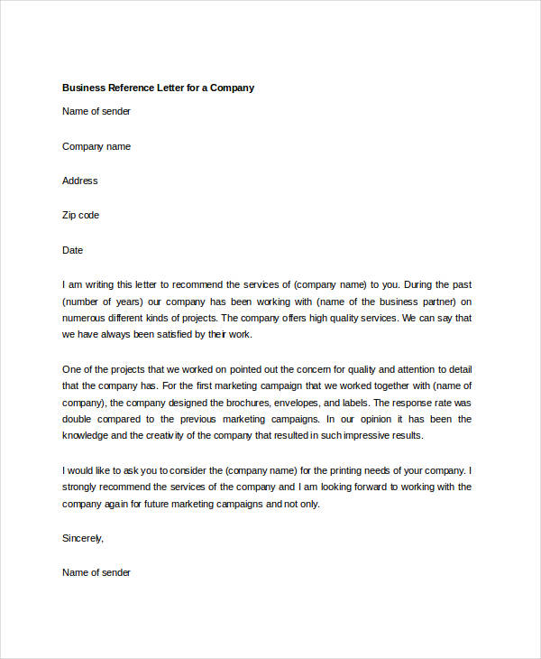 Company Recommendation Letter Sample.Business Reference Letter Template Business
