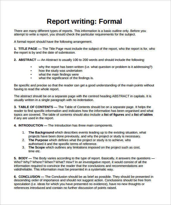 business report format template business business report format