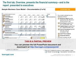 business report sample business case development toolkit with excel model