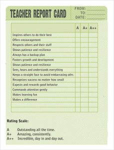 business report sample sample report card