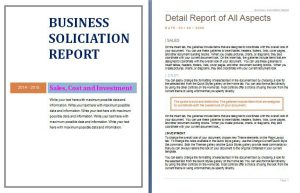 business report template business soliciation report template