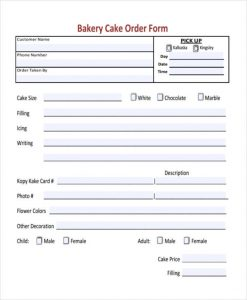 cake order forms bakery cake order