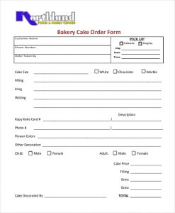 cake order forms bakery cake order form