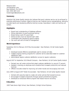 call center resume call center quality analyst