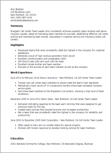 call center resume call center team leader