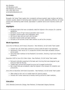 call center resume call center team leader