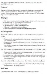 call center resume call center trainer
