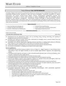 call center resume examples call center manager resume resume sample for call center manager intended for resume samples for customer service manager