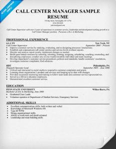 call center resume examples call center manager resume sample