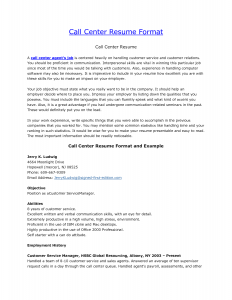 call center resume inbound call center resume format