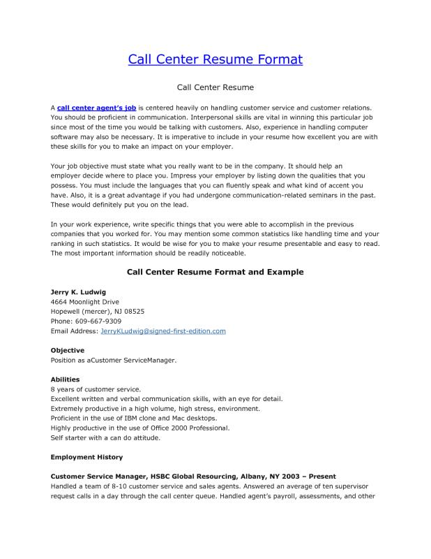 Call Center Resume Template Business