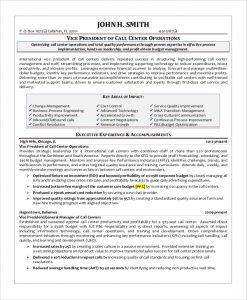 call center resume vice president call center resume