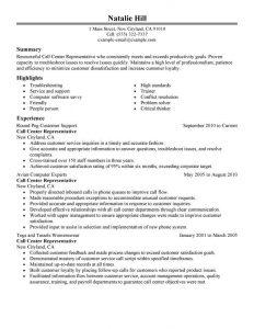 call center resumes sample call center customer service representative resume natalie hill