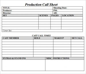call sheet template production call sheet