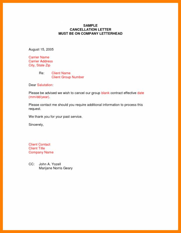 Cancellation Letter Template  Template Business