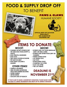 canned food drive flyer paws and claws drop off flyer copy