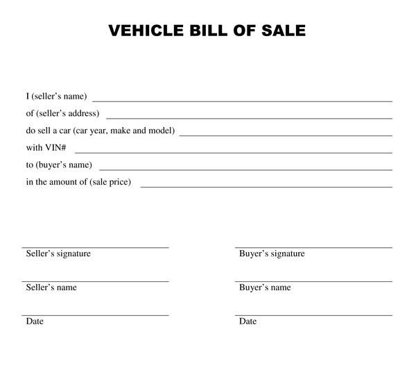 automotive bill of sale example