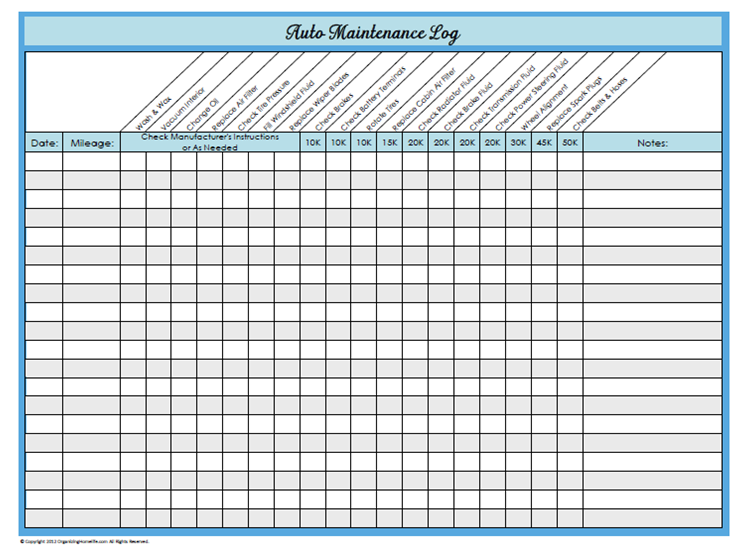 Declarative image pertaining to car maintenance schedule printable