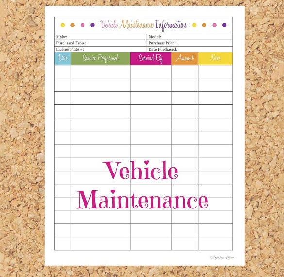 Massif image with regard to car maintenance schedule printable