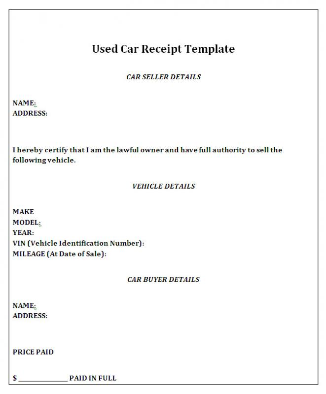 Selling Car Receipt Template Yeniscale