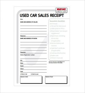 car sale receipt template used car sale receipt pdf download