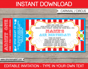 carnival invitation template carnival ticket invitation template circus editable and printable