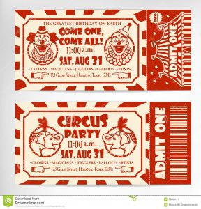 carnival ticket template birthday card circus ticket tree background vector illustration