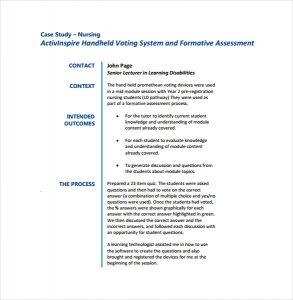 case study format nursing case study pdf format template free download