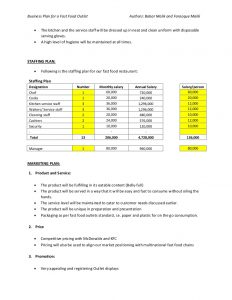 cash budget example business plan of fast food restaurant