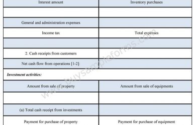 cash flow analysis template cash flow statement form