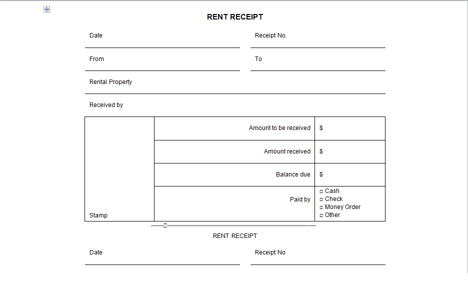 Cash Receipt Template Word  Money Receipt Template