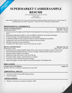 cashier resume sample supermarket cashier sample resume