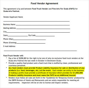 catering contract sample food vendor agreement template