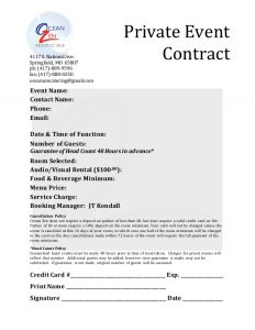 catering contract sample private event contract