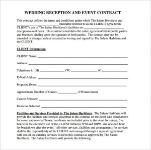 catering contract sample wedding reception contract